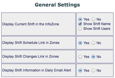 Shift General Settings