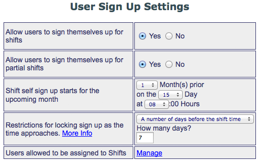 Shift Signup Settings